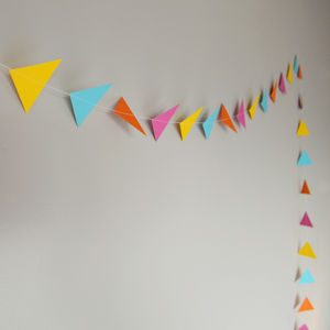 Bright Fiesta Geometric Triangles Paper Garland - room decorations