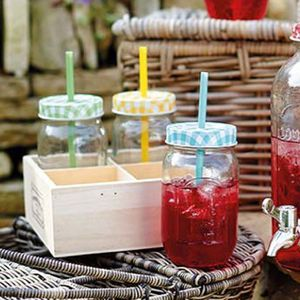 Multi Gingham Jam Jar Bottles With Straws Set