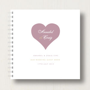 Personalised Heart Wedding Guest Book - albums & guestbooks