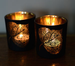 Black And Gold Tea Light Holder - winter sale