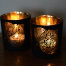 Black And Gold Leaf Tea Light Holder
