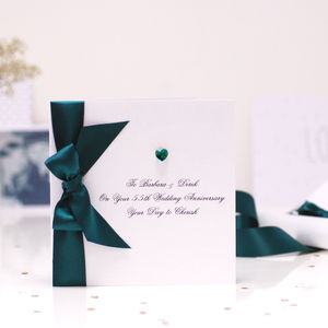 Bedazzled Emerald Wedding Anniversary Card