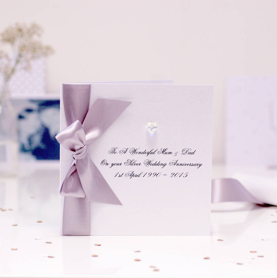 bedazzled silver personalised wedding anniversary card by made with ...