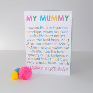 Personalised Happy Birthday Mum/Mummy Card