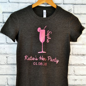Personalised Glitter Hen Night Cocktail T Shirt