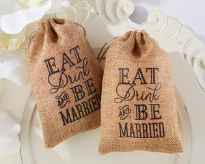 'Eat, Drink And Be Married' Burlap Favour Bag - rustic wedding