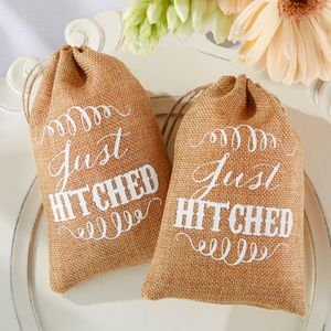 'Just Hitched' Burlap Favour Bag