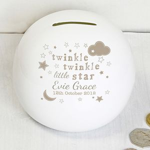 Twinkle Twinkle New Baby Bone China Money Box - children's room accessories