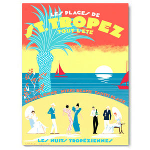 St Tropez, Red And Yellow Vintage Canvas Art - paintings & canvases
