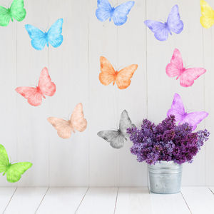 Watercolour Butterfly Fabric Wall Stickers - home decorating