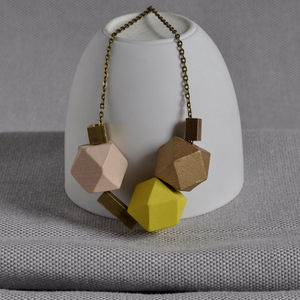 Yellow And Brass 'Cobble Stone' Necklace