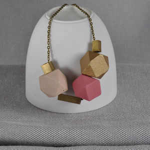 Pink And Brass 'Cobble Stone' Necklace