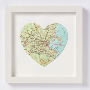 Dublin Map Location Heart Print