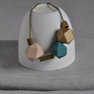 Turquoise And Brass 'Cobble Stone' Necklace