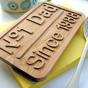 Number One Dad. Solid Oak Personalised Pan Stand Trivet