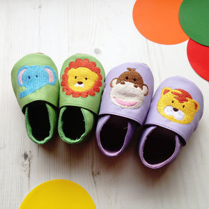 Leather Embroidered Animal Baby Shoes - gifts: under £25
