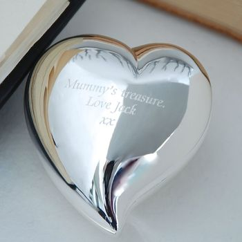 Silver Swish Heart Keepsake Box