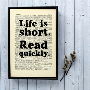 'Read Quickly' Book Lover Gift Print