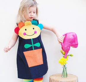 Flower Pot Pinafore Dress With Optional Bobbles Set - clothing