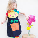 Flower Pot Pinafore Dress With Optional Bobbles Set