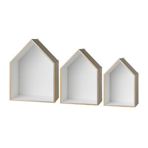 Set Of Three House Wall Shelves
