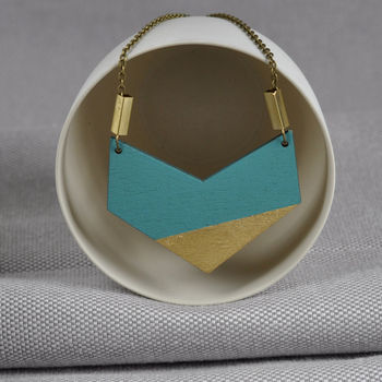 Turquoise And Gold Chevron Necklace
