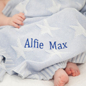 Personalised Blue And White Jacquard Knit Blanket - shop by occasion