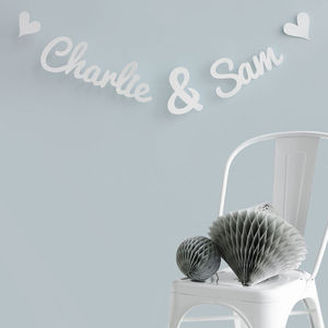 Personalised Names Wedding Paper Garland - outdoor decorations