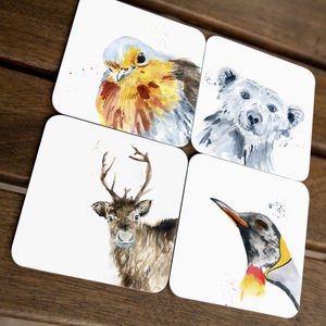 Inky Christmas Animal Coasters