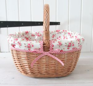 Oilcloth Lined Wicker Picnic Basket - picnics & barbecues