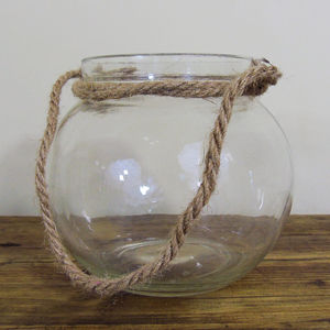 Glass Votive Ball With Rope - new in home
