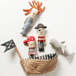 Plush Toy Pirate Ship Set W Rattles - rattles