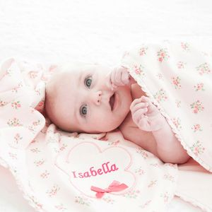 Personalised Flower Appliqué Ditsy Print Blanket - gifts for babies