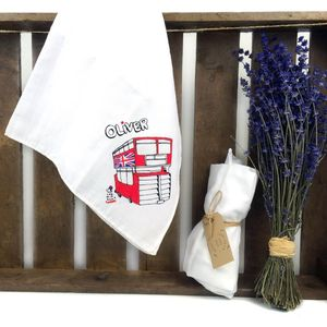 Personalised Red Double Decker Bus Muslin Swaddle