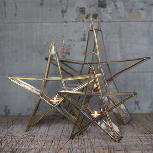Brass Standing Star - votives & tea light holders