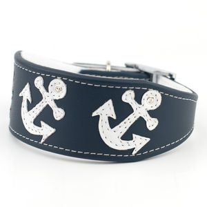 Anchors Leather Whippet And Greyhound Collar