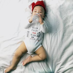 Personalised 'Keep Calm And Give Me Milk' Baby Bodysuit