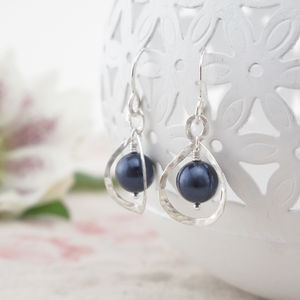 Calla Lily, Midnight Blue Pearl And Silver Earrings - earrings
