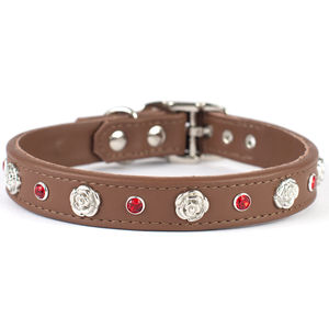 English Rose Leather Dog Collar - dog collars