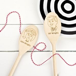 Pair Of Bride And Groom Wooden Spoons - 5th anniversary: wood
