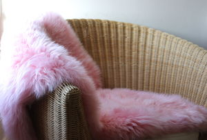 Powder Pink Sheepskin - dining room