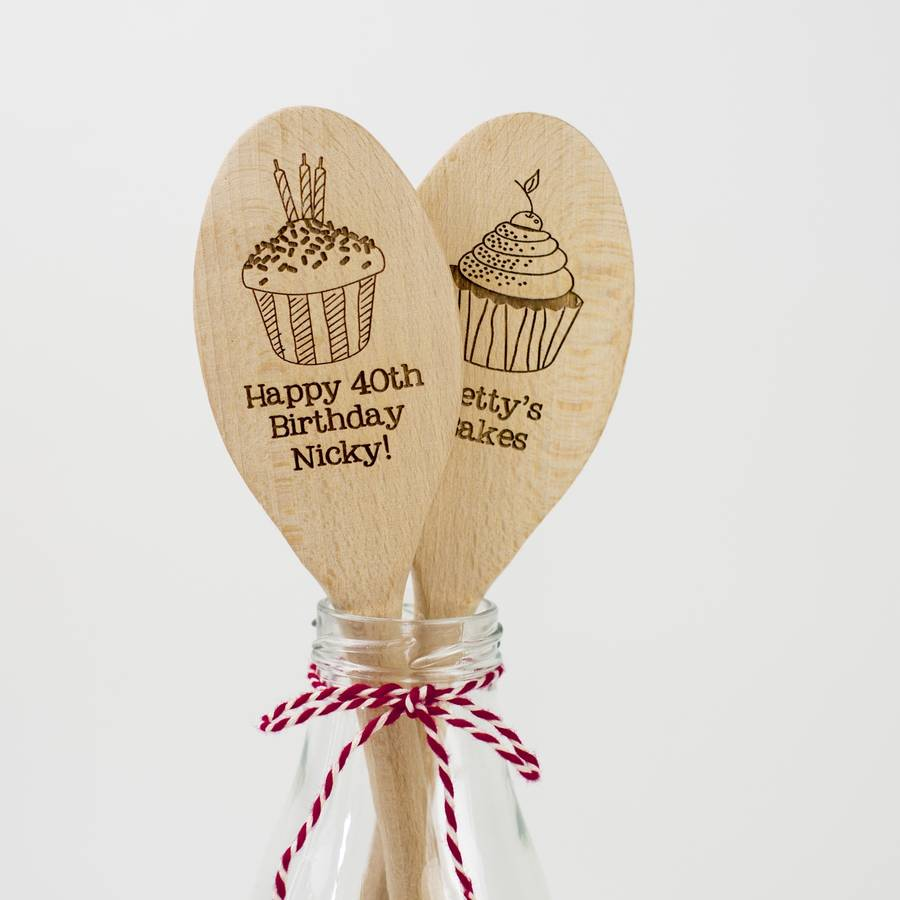 personalised wooden cupcake spoon by