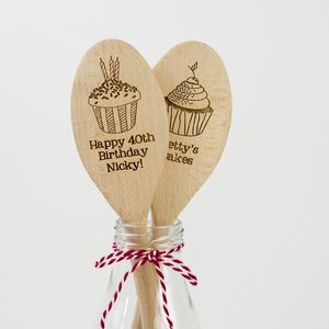 Personalised Wooden Cupcake Spoon - gifts for her sale