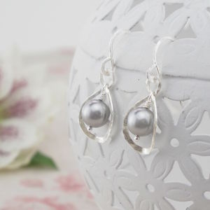 Calla Lily, Grey Pearl And Silver Earrings - wedding jewellery