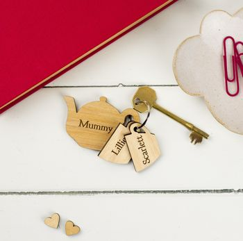 Personalised Teapot Family Key Ring
