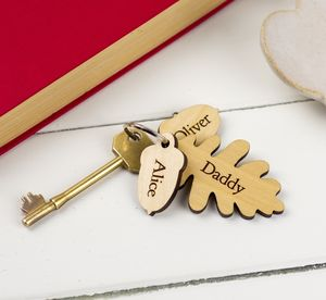 Personalised Oak Leaf And Acorn Keyring - personalised