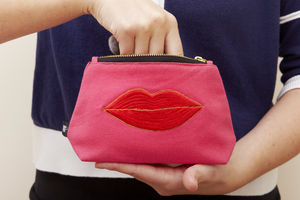 Luscious Lips Make Up Pouch In Pink - make-up bags