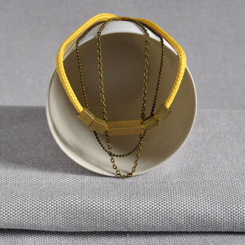 Long // Short Brass And Yellow Neon Cord Necklace