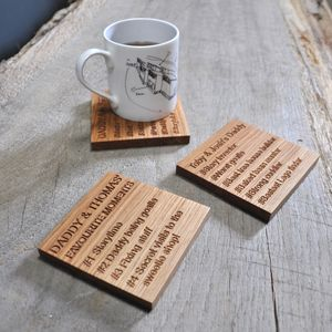 Father's Day Favourite Moments Oak Coaster - 40th birthday gifts