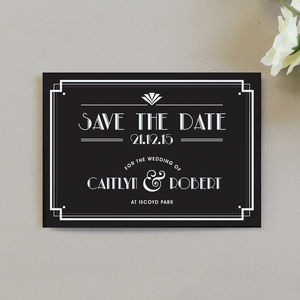 Art Deco Style Save The Date Invitation